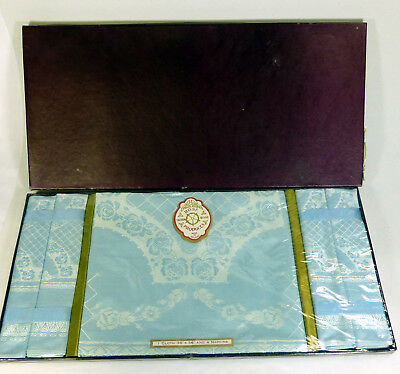 Vintage Rose Irish Linen Table Cloth And Four Napkins  Boxed