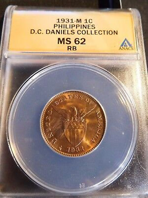 INV #S2 Philippines 1931-M Centavo ANACS MS-62 Red Brown