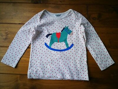 Mini Boden white and red spotted rocking horse long sleeve top age 18-24 months