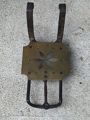 Vintage Wrought Iron Brass Fireplace Trivet Warmer Kettle