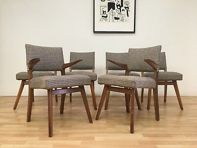 Vintage Danish Mid Century Set Of Six 50S/60S Dining Chairs With Carvers