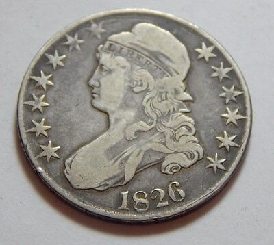 1826 US Silver Capped Bust Half Dollar Coin - Overton 112a