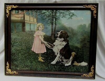 "Adorable Antique Print Little Girl & St. Bernard Dog ""How do you do?"" 11 x 14"