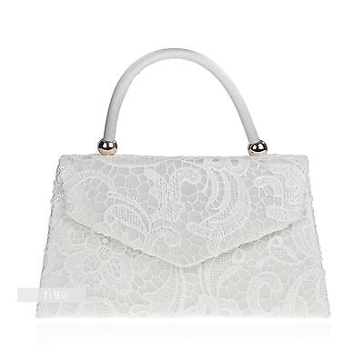 New Stylish Ivory Lace Floral Wedding Ladies Party Prom Evening Clutch Hand Bag