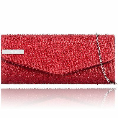 Red Glitter Diamante Sparkle Wedding Ladies Party Prom Evening Clutch Hand Bag