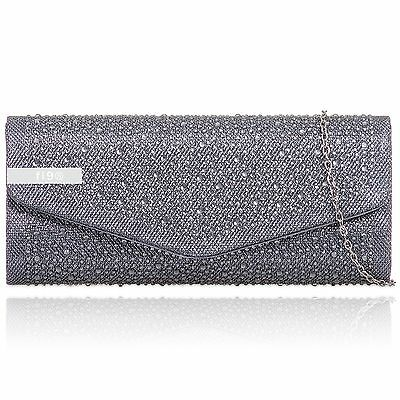 Grey Glitter Diamante Sparkle Wedding Ladies Party Prom Evening Clutch Hand Bag