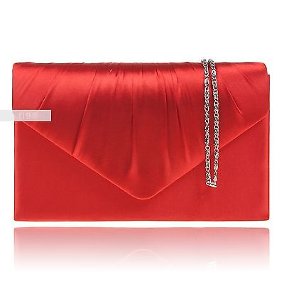 Red Satin Wedding Ladies Party Prom Evening Clutch Hand Bag Purse Handbag