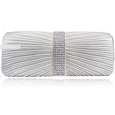 Ivory Satin Crystal Diamante Wedding Ladies Party Prom Evening Clutch Hand Bag