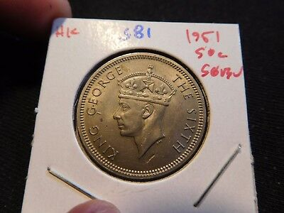 INV #S81 Hong Kong 1951 50 Cents Superb GEM BU