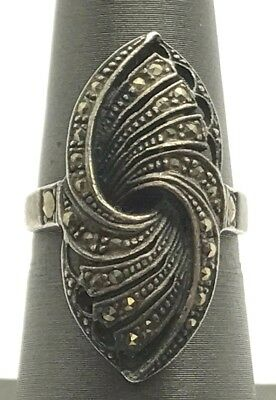 Sterling Silver Antique Style Oxidized Marcasite Swirl Adjustable Cocktail Ring