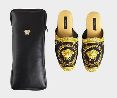 Versace Baroque Medusa Slippers 1 Pair with Case - Size 45 - Black Gold