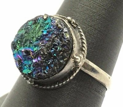 Vintage Style Oxidized Sterling Silver Round Textured Druzy Cable Cocktail Ring
