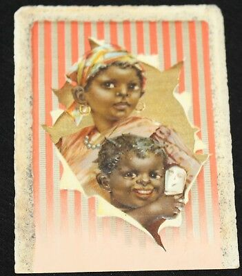 Two Black Children smiling, relieved from Colic. Dr Hand's Colic Cure Trade Card