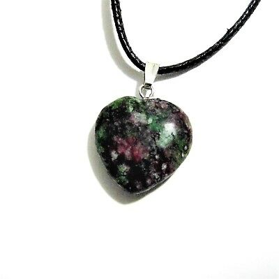 Ruby Zoisite Anyolite Gemstone Crystal 2cm Heart Pendant Adjustable Necklace