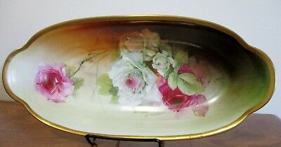 Ernst Wahliss Turn Teplitz Hand painted Serving dish Roses Gold Trim