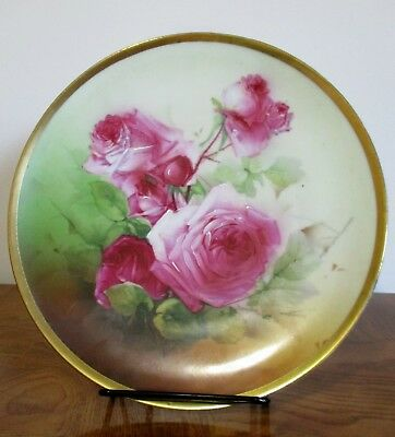 Ernst Wahliss Turn Teplitz Hand painted Presentation plate Roses Gold Trim