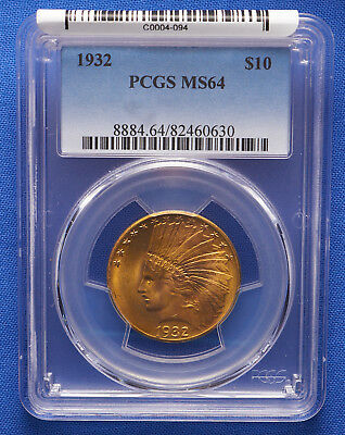 1932 $10 Indian Eagle Gold Coin PCGS MS 64