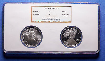 1987-S 2 PC. American Silver Eagle NGC MS 69-P, PF 69-S Ultra