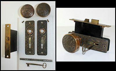 Antique Brass East Lake & Floral Mortise Lock Set w Door Knobs, Back Plates &Key