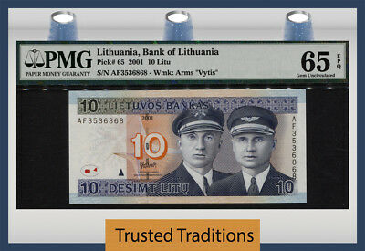 "Tt Pk 65 2001 Lithuania 10 Litu ""steponas & Stasys"" Pmg 65 Epq Gem Uncirculated!"