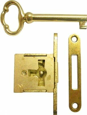 Brass Plated Steel FULL MORTISE LEFT HAND DOOR OR DRAWER LOCK Set