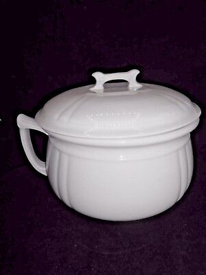 Antique Alfred Meakin England White Royal Ironstone Chamber Slop Pot w/Lid Exc!