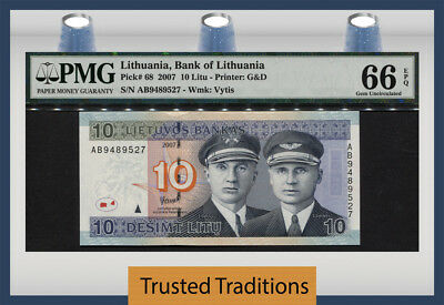 "Tt Pk 68 2007 Lithuania 10 Litu ""steponas & Stasys"" Pmg 66 Epq Gem Uncirculated!"