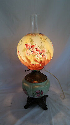 Vintage Hand Painted Rose Floral Victorian GWTW Oil style,Electric Lamp