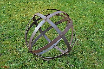 Medium rusty wrought iron riveted ornamental sphere garden ball sculpture