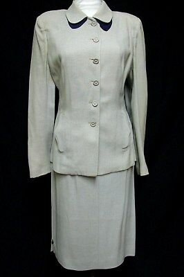 1940s Vintage CURVY FITTED RAYON GABARDINE 2 PIECE SUIT