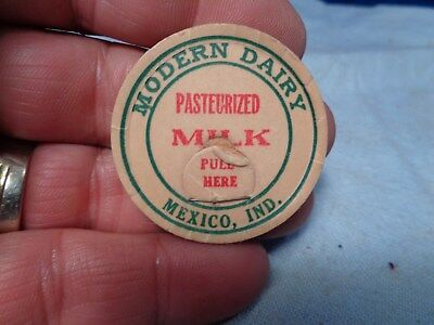 Vintage Milk Bottle Cap  **MODERN DAIRY**  MEXICO INDIANA