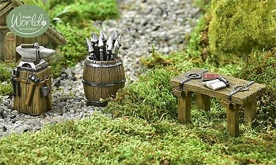 Mini World Viking Village Accessory, 3/Asst. Resin Table Anvil Barrel Tools New
