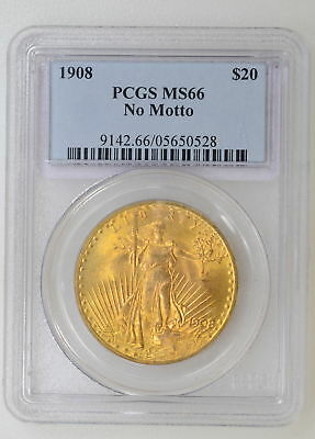 1908 No Motto PCGS MS66 $20 St. Gaudens Double Eagle Great Strike - I-9097