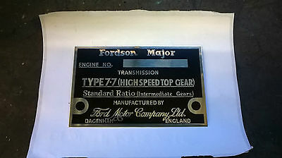 fordson E27N new brass serial number plates