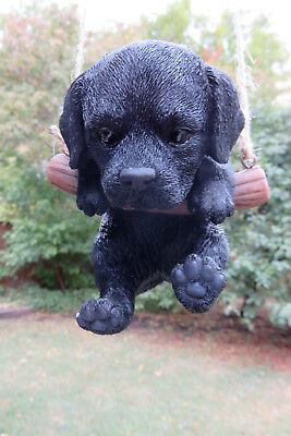 Black Lab Puppy Dog Hanging Swing Figurine Tree Ornament Garden Resin 5""