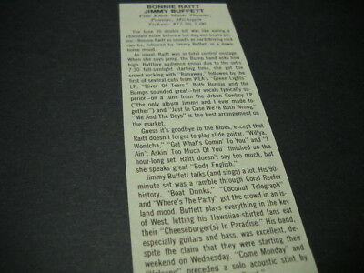 BONNIE RAITT & Jimmy Buffett at Pine Knob vintage music biz promo concert review
