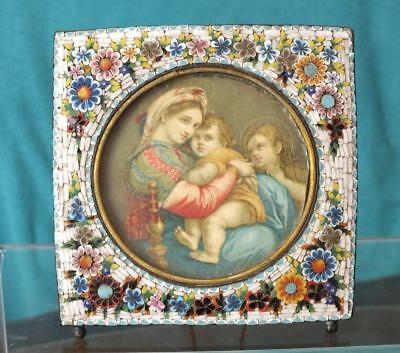Antique Venetian / Italian Micromosaic Floral Picture Frame With Woman & Child