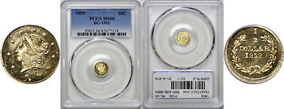 1859 Fifty Cent California Fractional Gold PCGS MS-66 BG-1002