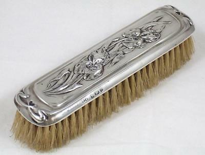 Antique Sterling Silver Art Nouveau Floral Decorated Clothes Brush dated 1904