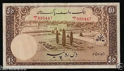 PAKISTAN (P13) 10 Rupees ND(1951) aVF/VF sign. S.A. Hasnie