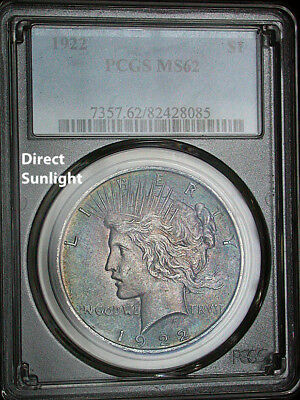 1922 PCGS MS62 Colorful Toned Peace Dollar