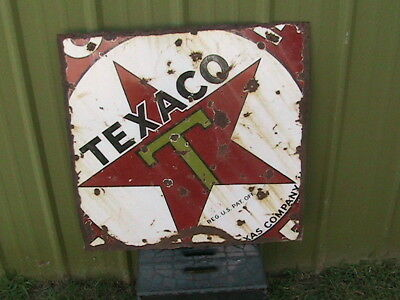 Vintage  Texaco Star Texas Company Oil Gas Porcelain Sign 28X28 In Advertising