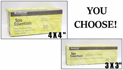 Graham SPA ESSENTIALS Lint-Free Nonwoven Esthetic Wipes 200ct 4-Ply 3x3 OR 4x4
