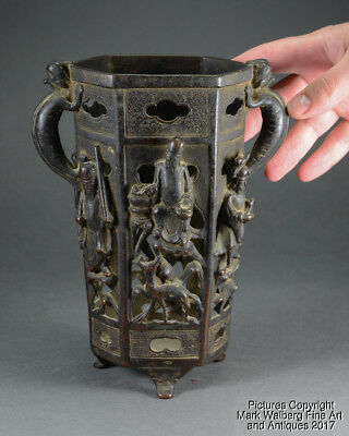 Chinese Bronze Brush Pot, High Relief Immortals & Animals, Yuan to Ming Dynasty