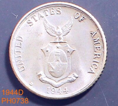 PHILIPPINES 20 centavos 1944-D almost uncirculated silver coin