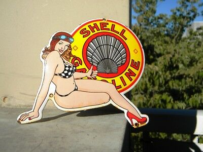 """SHELL PIN UP OLD PORCELAIN SIGN ~6"""" x 5-3/4"""" GASOLINE STATION OIL PUMP LUBESTER"""