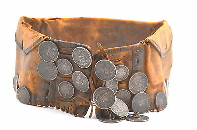 ANTIQUE GAUCHO LEATHER MONEY BELT SOUTH AMERICAN SILVER SOLS c1895 PERU BOLIVIA