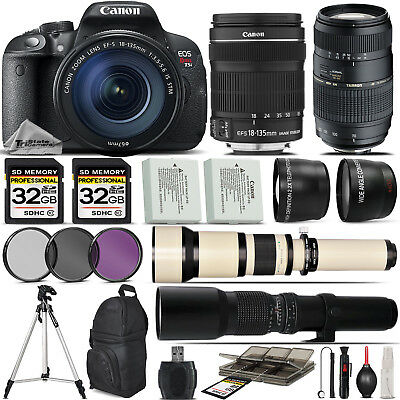 Canon EOS Rebel T5i SLR Camera 700D + 18-135mm + 70-300mm Lens - 64GB Kit Bundle