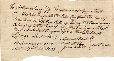 1792, Kent, Connecticut, Selectmen signed pay to teacher of schools