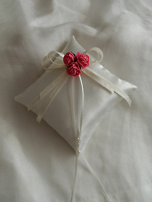 Ivory & Pink Satin Wedding Ring Cushion Hand Crafted